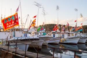 南知多町 師崎港の大漁旗