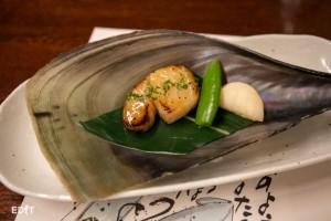 まさに今おいしい 平貝の木の芽焼き 知多野菜を添えて